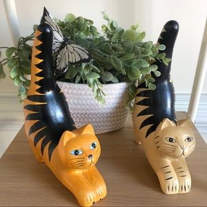 Set of two ceramic tabby cats